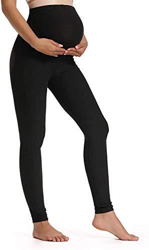 QPQ Maternity Yoga Leggings Over Bump Workout Running Active Athletic Full Length Legging Black M