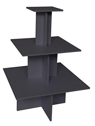 Dila GmbH Pyramidentisch New York Verkaufstisch aus Holz Verkaufsregal 3 Ebenen Gesamthöhe 135 cm (anthrazit)