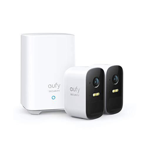 eufy Security eufyCam 2C, kabelloses Sicherheitssystem, 180 Tage Akkuleistung, HD 1080p, IP67 wetterfest, Nachtsicht, Kompatibel mit HomeKit, Doppel-Kamera-Set, ohne monatliche Gebühren