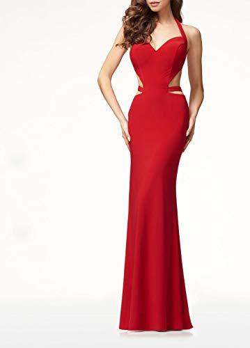 Hübsche Kleid Kleider Dress Damen Modeklassiker Damen V-Ausschnitt Neckholder Rot Rückenfrei Ballkleid-Red_L