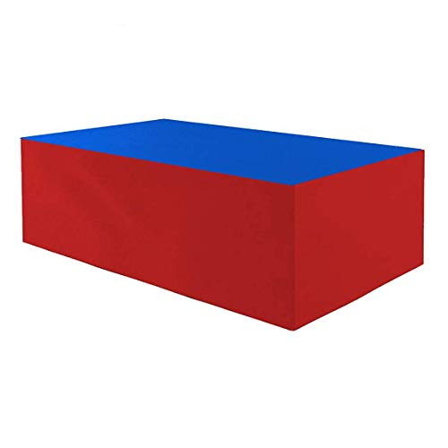 Planesium - Funda protectora para mesa de jardín (impermeable, transpirable, 575 g/lfm, 140 x 95 x 70 cm), color azul y rojo