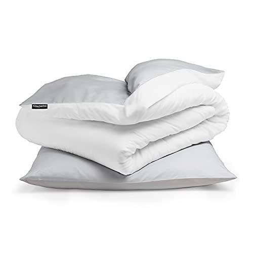 Sleepwise Bettwäsche (135x200) 2teilig, ÖKO-Tex, Kuschelig, Mikrofaser Bettwäsche, Atmungsaktiv Faltenfrei Leicht zu pflegen Hypoallergen Bettbezug-Set mit 80x80 Kissenbezug (Hellgrau/Weiß)