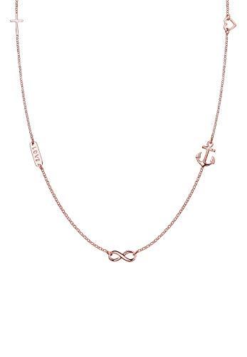 Elli Halskette Damen Liebe Symbolik Anhänger Basic aus 925 Sterling Silber rosé vergoldet