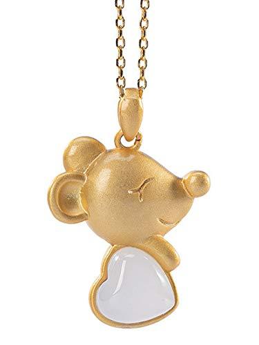 RXSHOUSH Collar con colgante de jade hetiano natural, colgante de ratón del zodiaco colgante de plata 925 chapado en oro, collar de joyería de buena suerte
