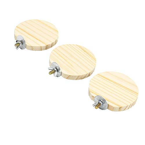 GNB PET 3 Pack Natural Wood Stand Platform for Hamster, Chinchilla, Mouse, Rat, Gerbil, Dwarf Hamster, Round Shape Wood Perch Stand Platform for Parrot and Bird, with 304 Stainless Steel Washers