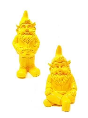 Stoobz Schöner GNOME Set gelb | Gartenzwerg Set gelb von polyresin (Regen- und frostbeständig) | Höhe 32 und 23 cm | Gelb | Dekorationsartikel für Haus und Garten