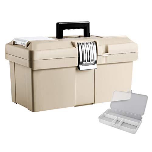 Xinxinchaoshi Caja de Herramientas Manual portátil de Acero Inoxidable con Cierre y Hebilla y Caja de Almacenamiento de Herramientas portátil y Piezas de plástico (Color: Beige, tamaño: S)