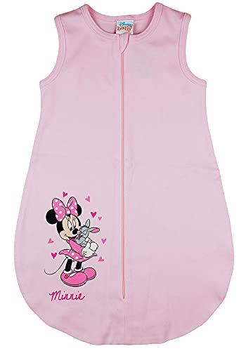 Baby Mädchen ärmelloser Sommer-Schlafsack mit Minnie Mouse Motiv Disney Baby in Größe 56 62 68 74 80 86 92 dünn Baumwolle weiß oder Rosa auch als Geburts-Geschenk (Modell 7, 56_62)