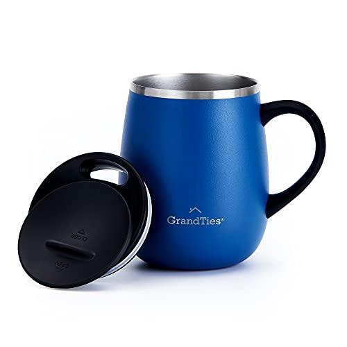 Grandties isolierte doppelwandige Kaffeetasse mit Griff - Schiebedeckel für auslaufsichere 473 ml, Weinglasform, Thermobecher mit Edelstahl, um Getränke heiß oder kalt zu halten - Kobaltblau