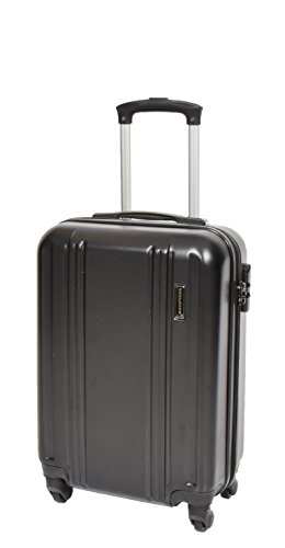 Cabin Size Strong 4 Wheel Hand Luggage ABS Hard Shell Lightweight Travel Bag AA03 Black