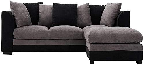 Koyh Minimalistas Modernas Almohadas Tela de tapicería con Cinco rincón del sofá de 3 plazas para una Sala de Estar, Sala de Estar, Oficina, recepción, etc, Grey3 Seater Sofa with Footstool