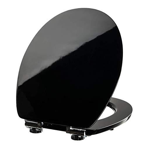 VILSTEIN WC Sitz Absenkautomatik, Stabile Metall-Scharniere, hochwertige und stabile Qualität aus MDF Holz, WC Deckel, Hochglanz schwarz