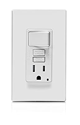 Leviton GIDDS-2499319 GFSW1-W Self-Test SmartlockPro Slim GFCI Combination Switch Tamper-Resistant Receptacle with LED Indicator, 15 Amp, White