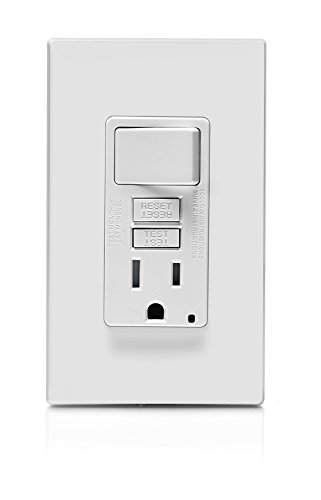 Leviton GFSW1-W Self-Test SmartlockPro Slim GFCI Combination Switch Tamper-Resistant Receptacle with LED Indicator, 15-Amp, White