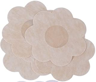 Breast Petals - Nipple Patches - No Show Nipple Covers - Flower, Circle, Heart Shape (10-Pack Flower (50 Pairs))