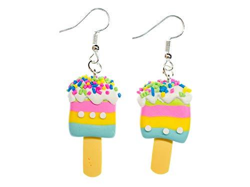 Miniblings polo de hielo colorido helado tiras pendientes - joyería manera hecha a mano de hielo crema de helado para los ninos de Kawaii - Pendientes pendientes de plata
