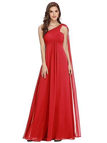 Ever-Pretty Vestidos de Fiesta Gasa Un Hombro Corte Imperio Plisado sin Mangas para Mujer Rojo 48