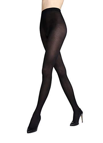 Gatta ondoorzichtige panty met patroon 40den (198-06) - panty met netpatroon geruit mat zwart visgraat - ontworpen & Made in EU