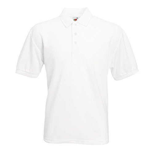 Fruit of the Loom Polo 65/35 Coton Piqué Blanc Blanc Taille M
