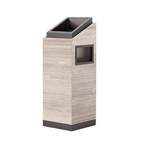LICHUAN Papelera de mármol para exteriores con cubo interior, cubo de basura de reciclaje de grano de madera de imitación para hoteles, patios, cocina, gran capacidad (color negro)