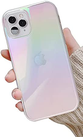 Ownest Compatible with iPhone 11 Pro Max Case,Colorful Clear Rainbow Glitter Bling Design TPU and PC Protection Case for Women Girls for iPhone 11 Pro Max-White