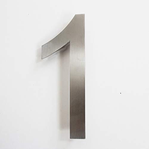 Número de calle, de acero inoxidable, altura 15,5 cm, número de casa, número de puerta de diseño 1