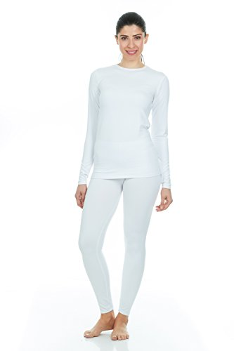 Thermajane Women's Ultra Soft Thermal Underwear Long Johns Set with Fleece Lined (Large, White)