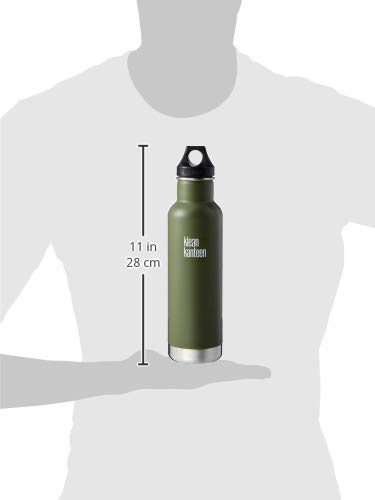 Klean Kanteen Classic Stainless Steel Double Wall Insulated Water Bottle with Loop Cap, 20-Ounce, Fresh Pine