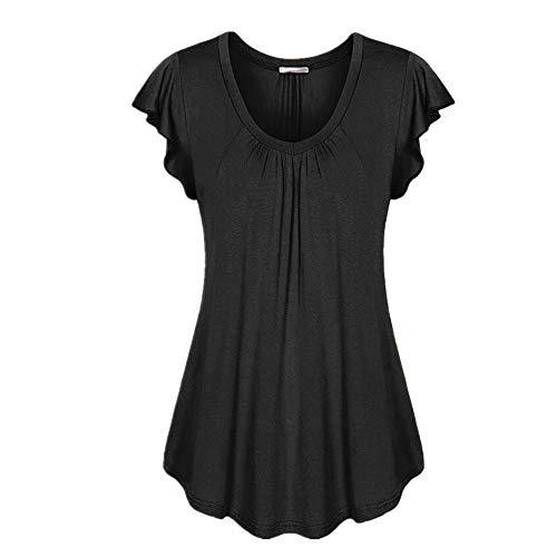 YXXSJB Shirt Women Shirt Women Summer Fashion Minimalist Casual T-Shirt Monochrome Breathable Pleated Top Summer 2020 Summer Casual Women's Tops K-Black S