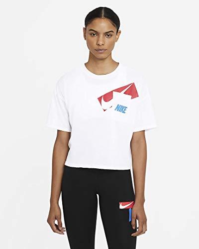 Nike DC7189-100 W NK Dry GRX Crop TOP T-Shirt Womens White/(Black) M