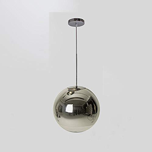 Lámpara de araña moderna led de iluminación de oro plateado espejo bola colgante globo vidrio lámpara led lámpara de cocina sala de estar dormitorio lámpara nórdica color cromo 30cm
