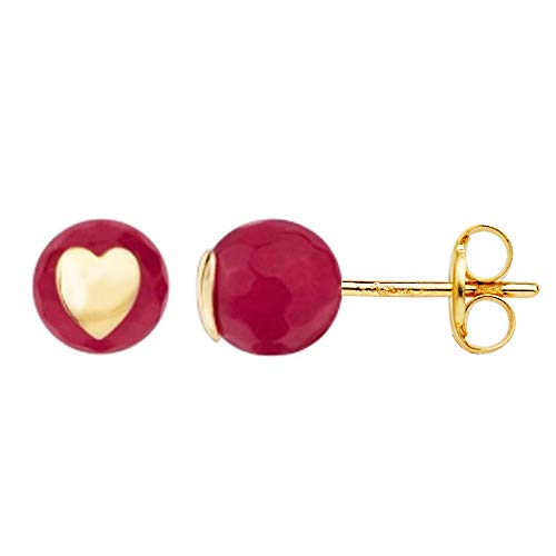 Iyé Biyé - Pendientes Corazón Bola Piedra Roja 6 mm Oro Amarillo 18 Ktes Cierre Presión