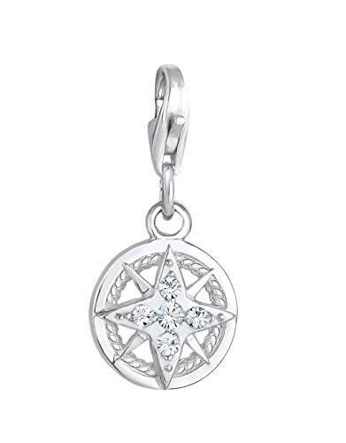 Compass Charm Pendant 925 Sterling Silver for Women and Girls, Wind Rose Motif with Swarovski Crystals in White, Maritime Charms Fits All Standard Charm Bracelets and Charm Bracelet