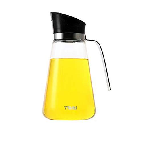 botellas de aceite, botella de dispensador con tapa automática, a prueba de fugas, tapón automático, caño de vertido y manija antideslizante, 550ML, negro