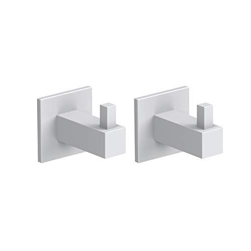 Kon-fort Home Colgador toalla baño cuadrado blanco, Juego 2 accesorios baño de diseño, acero inoxidable, para colgar toallas albornoces sombreros. Perchas pared resistentes, color blanco mate.