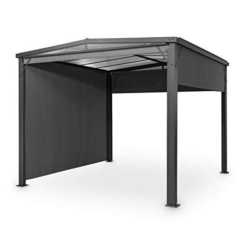blumfeldt Pantheon Cortina Solid Sky Pergola - Vordach Anbaupavillon, 300 x 300 cm, Regen- & Sonnenschutz, Blick- & Windschutz: 4 ausrollbare Seitenwände, dunkelgrau