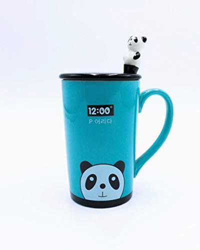 Oh Glam Home Taza de Cerámica con Cuchara Panda con Tapa Cuchara Taza de café de Oficina Taza Creativa