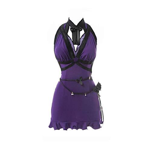 NSPSTT FF7 Tifa Lockhart Cosplay Kostüm Final Fantasy VII Remake Spiel Cosplay Sexy Kleid Badeanzug - Violett - Small-Medium