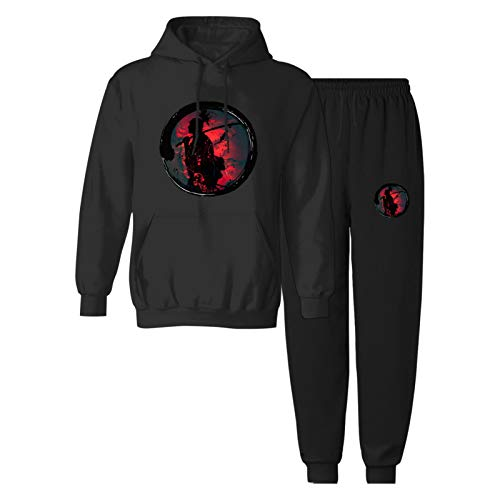 CAPINER Boys Girls jap-an-ese sam-urai Anime Tracksuit Sets Youth 2 Piece Sweatshirt Sweatpants Pullover Hooded Youth L Black