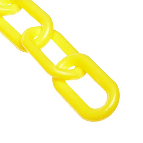 Mr. Chain Plastic Barrier Chain, Yellow, 1.5-Inch Link Diameter, 25-Foot Length (30002-25)