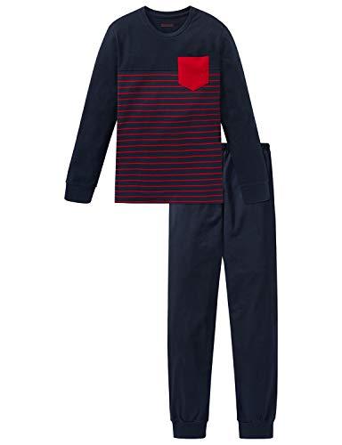 Schiesser Jungen Anzug lang Zweiteiliger Schlafanzug, Blau (Nachtblau 804), (Herstellergröße: 140)