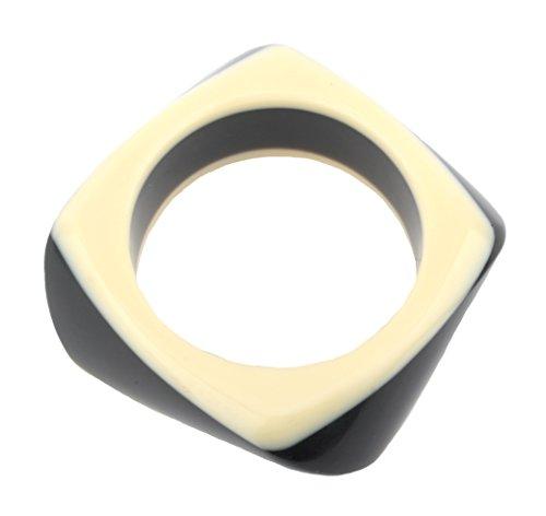 Zest quadratisch Twist Armreif Kunstharz schwarz & creme