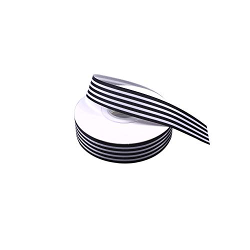 Black and White Striped Grosgrain Ribbon 1 Inch Christmas Gift Wrap Ribbon for DIY Hair Accessories Crafts Party Wedding Holiday Decoration 25 Yards