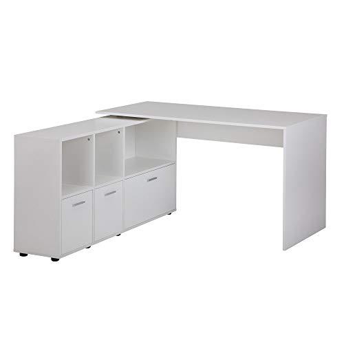 FineBuy Schreibtischkombination 136 cm Weiß Schreibtisch mit Sideboard | Winkelschreibtisch Home Office | Tisch Büro Modern