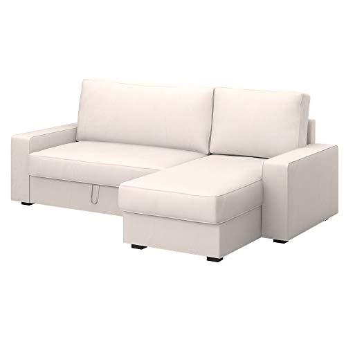 Soferia Funda de Repuesto para IKEA VILASUND Funda sofá Cama con chaiselongue, Tela Eco Leather Creme, Off-White