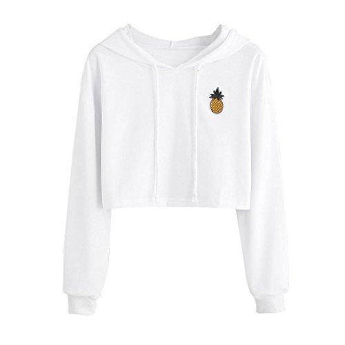 TWIFER Damen Hoodie Applikationen Ananas Sweatshirt Kapuzenpullover Langarm Pullover Crop Tops