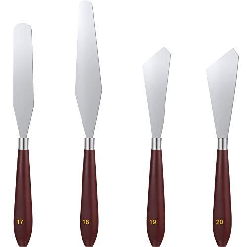 4 Stücke Malerei Messer Set Edelstahl Paletten Messer Ölgemälde Mischschaber Gemälde Kunst Spachtel Paletten Messer Werkzeuge mit Holzgriff für Malerei Kunst Farbmischung