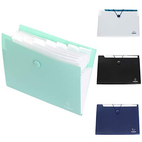 [4x] A4 Carpeta de archivos extensible, Acordeón Carpeta Clasificadora de documentos con 8 Compartimentos, para hogar u oficina - pack de 4 con 4 colores - TKD8002
