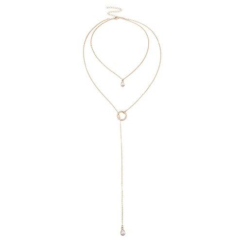 Adisaer Halsband Damen Gold Zelda Kette Y Form Zweireihig Schlicht Elegant O Weiß Zirkonia Memoir Choker Halskette Für Tochter