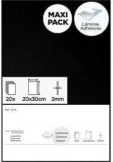 Goma eva negro láminas adhesivas 20x30cm.x2mm. 20u.